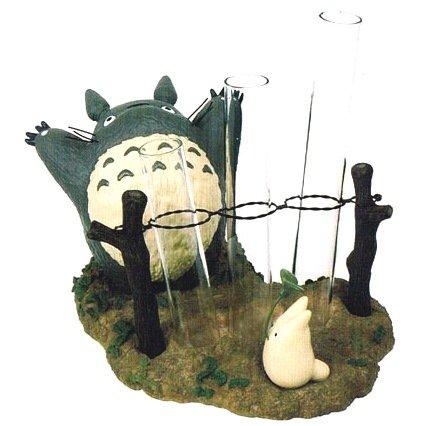 SOLD - Small Vase - 3 Glass Tube - Totoro & Sho Totoro - Ghibli - 2011 - no production (new)