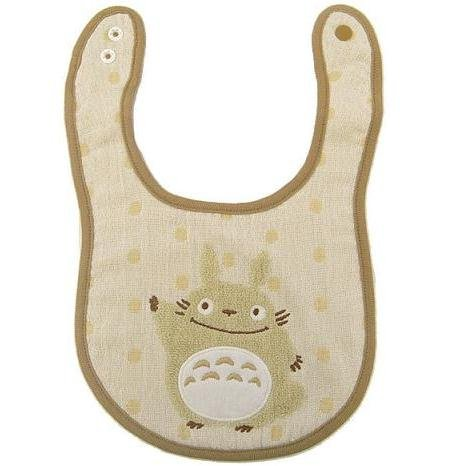 1 left - Baby Bib - Towel Cotton - Snap Button - Beige Totoro - Gift Box -2009- no production (new)