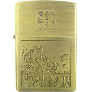 1left- Zippo -Brass Case & Wooden Box- Serial Number- Chihiro Pig- Spirited Away -no production(new)