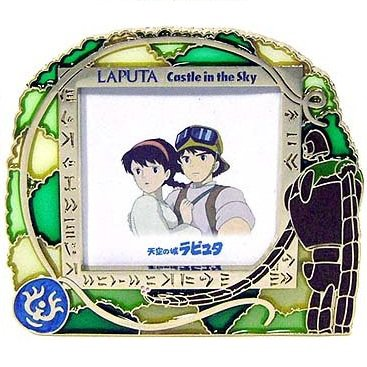 Stand Photo Frame - Stained Glass - Laputa Robot & Flying Stone & Pazu & Sheeta - Ghibli - 2007(new)