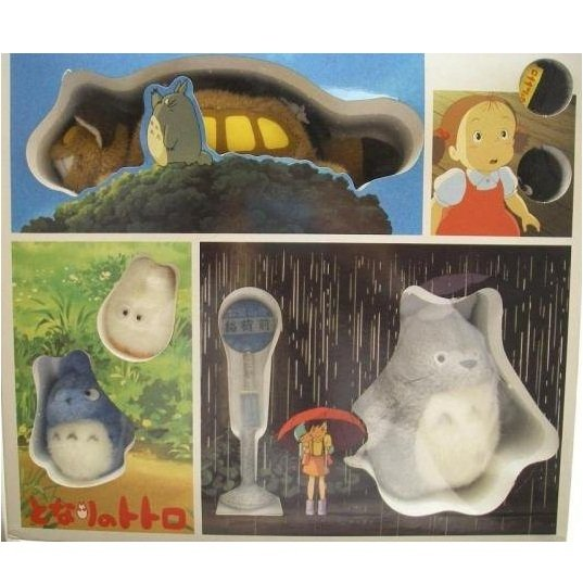 SOLD - Plush Doll - Totoro Family & Bus Stop Set - Ghibli - out of production (new)