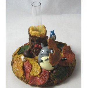 1 left - Small Vase - leaf - Totoro & Chu & Sho & Kurosuke - Ghibli - no production (new)