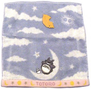 SOLD - Wash Towel - Embroidered & Applique - moon - Totoro & Sho Totoro - no production (new)