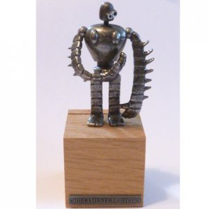 1 left- Card Stand - Figure Metal -move head &amp; arm- Laputa Robot - Ghibli Museum bag &amp; card (new)