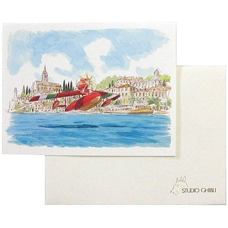 Greeting Card & Envelope - Hayao Miyazaki's Water Painting - Savoia - Porco Rosso - 2012 (new)