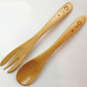 10%OFF - Fork & Spoon - Natural Wood Birch - Sho Totoro & Acorn - Ghibli - 2012 (new)