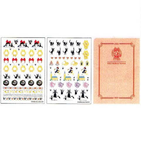Sticker Set - 2 Sheet & Paper File- made Japan - Jiji - Kiki's Delivery Service - Ghibli -2013 (new)