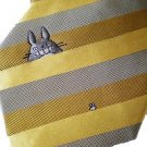 Necktie - Silk - Jacquard Weaving - stripe - yellow - made in Japan- Totoro - Ghibli - 2013 (new)