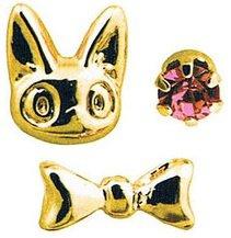 3 Pierced Earrings - Alloy - Jiji & Ribbon - gold - Kiki's Delivery Service - no production (new)
