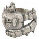 Ring #15 - Sterling Silver 925 - Cubic Zirconia- Robot & Crest - Original Box- Laputa - Ghibli (new)