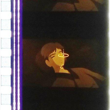 1 left - Movie Film #10 - 6 Frames - Ashitaka in Water - Mononoke - Ghibli (real film)
