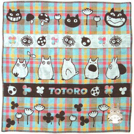 Handkerchief - 3 Layer Gaze - Embroidery -brown- made in Japan - Imabari - Totoro - 2014 (new)