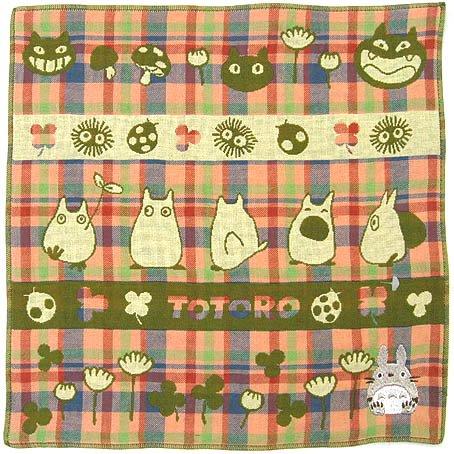 Handkerchief - 3 Layer Gaze - Embroidery - green - made in Japan - Imabari - Totoro - 2014 (new)