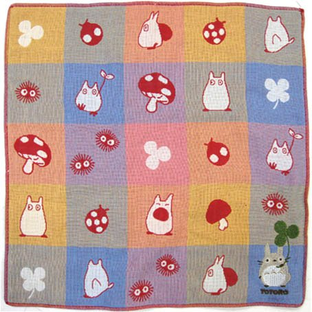 Handkerchief - 3 Layer Gaze - Embroidery -check red- made in Japan - Imabari - Totoro - 2014 (new)