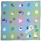 Handkerchief - 3 Layer Gaze - Embroidery -check blue- made in Japan - Imabari - Totoro - 2014 (new)