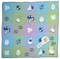 Handkerchief - 3 Layer Gaze - Embroidery -check blue- made in Japan - Imabari - Totoro - 2014 (new)