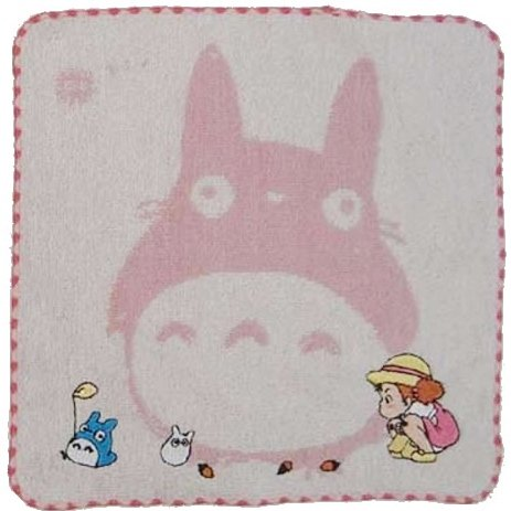 1 left - Mini Towel -24x24cm- pink- Embroidery - Chu & Sho Totoro & Mei - no production (new)
