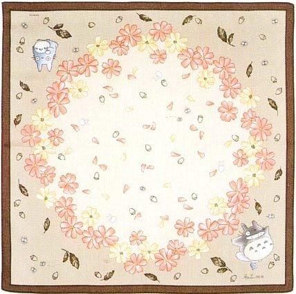 1left- Handkerchief -48x48cm- Hand Dyed -Satin- autumn- Totoro - made Japan -no production(new)