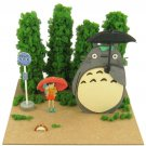Mini Papercraft Kit - Laser Sheet - Bus Stop - Totoro & Satsuki & Mei & Frog - Ghibli - 2014 (new)