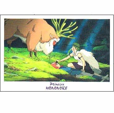Postcard - San & Ashitaka & Shishigami - Mononoke - Ghibli - 2013 - no production (new)