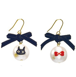 Pierced Earrings -Cotton Pearl Black Ribbon-made Japan- Jiji Face Kiki's Delivery Service -2015(new)