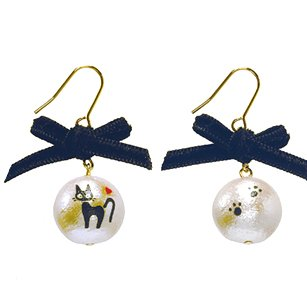 Pierced Earrings -Cotton Pearl Black Ribbon- made Japan - Jiji - Kiki's Delivery Service -2015(new)