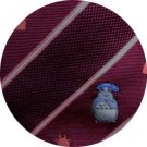 Necktie - Silk - Embroidery - Totoro Weaved - wine - made in Japan - Totoro - Ghibli - 2016 (new)
