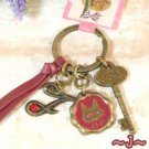 Key Ring - Alphabet J - 3 Charm - Colored Stone - Kiki's Delivery Service -2015- no production (new)