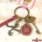 Key Ring - Alphabet K - 3 Charm - Colored Stone - Kiki's Delivery Service -2015- no production (new)