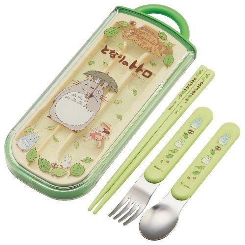 Fork & Spoon & Chopsticks in Case - Trio Set - made in Japan - Totoro - Ghibli - 2013 (new)