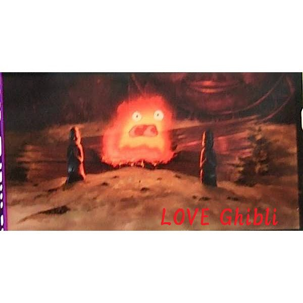 1 left - Bookmarker - Movie Film #13 - 6 Frame - Calcifer - Howl's Moving - Ghibli Museum (new)