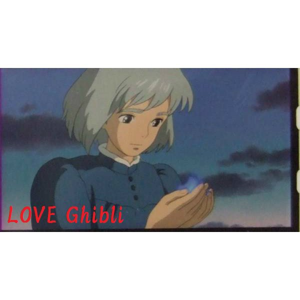 1left- Bookmarker - Movie Film #38- 6 Frame- Calcifer & Sophie - Howl's Moving - Ghibli Museum (new)