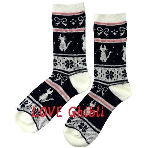 Socks - 23-25cm -Medium- Jacquard Weaving White- Kiki's Delivery Service 2016 no production (new)