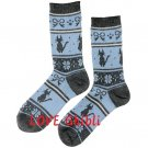 Socks - 23-25cm / 9-9.8in -Middle Length- Jacquard Weaving -Blue- Kiki's Delivery Service 2016 (new)