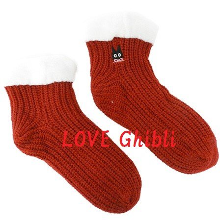 Socks - 23-24cm / 9-9.4in - Thick Double Knit Boa - Red - Jiji - Kiki's Delivery Service 2016 (new)