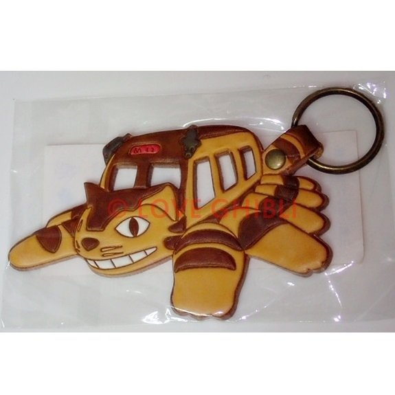 2 left - Key Holder - Natural Leather - Made Japan - Nekobus Totoro - Ghibli Museum Card & Bag (new)
