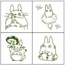 4 Mini Stamps & Color Pad Set - Olive Green - Made Japan - Sho & Chu & Totoro - Ghibli - 2016 (new)
