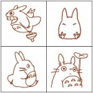 4 Rubber Stamps & Color Pad Set - Autumn Leaf - Made Japan - Sho & Chu & Totoro - Ghibli - 2016 (new)