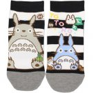 Socks - 23-25cm - 2 Different Designs - Short - Black Stripe Gray - Totoro - Ghibli - 2015 (new)