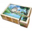 Puzzle - 12 Wooden Blocks - 6 Patterns - Totoro - Ghibli - Ensky - 2014 (new)
