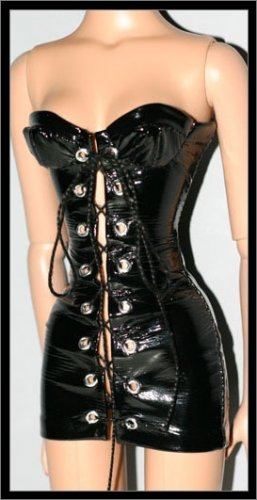 "Black Vinyl PVC Corset Dress for 16"" Robert Tonner Doll"