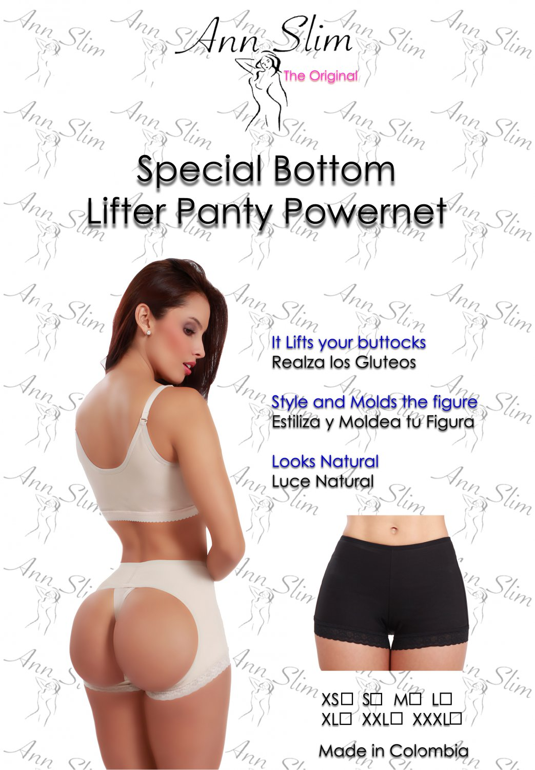 ANN SLIM CONTROL BUTT LIFTER POWERNET PANTY POST SURGERY COLOMBIA SHAPEWEAR BLACK SIZE XL