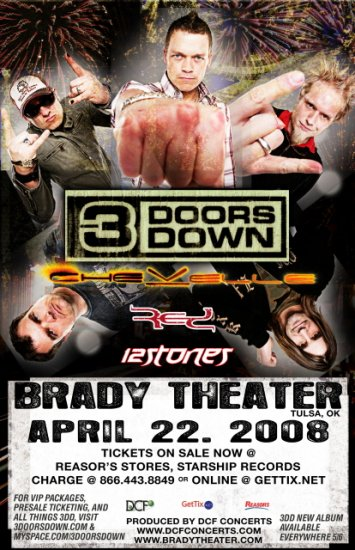 3 DOORS DOWN chevelle Promotional CONCERT POSTER