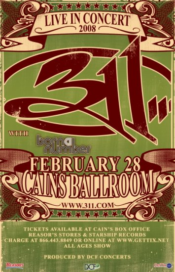 311 born a number Promotional CONCERT poster