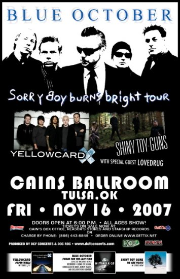 BLUE OCTOBER shiny toy guns Promotional CONCERT POSTER
