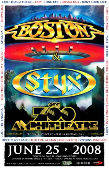 BOSTON & STYX rare promotional CONCERT poster