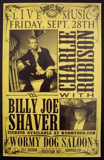 CHARLIE ROBISON rare CONCERT poster BILLY JOE SHAVER