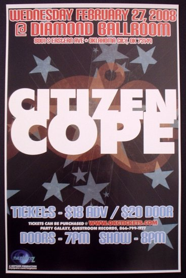 CITIZEN COPE rare promotional CONCERT poster