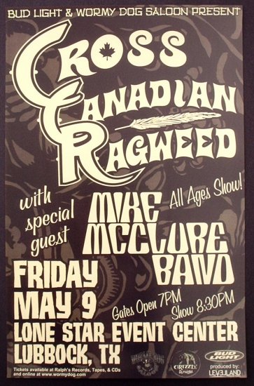 CROSS CANADIAN RAGWEED rare promotional CONCERT poster collectible