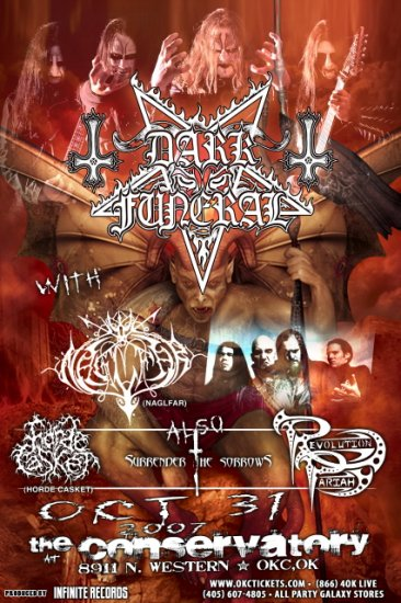 DARK FUNERAL naglfar Promotional CONCERT poster sorrows Collectible